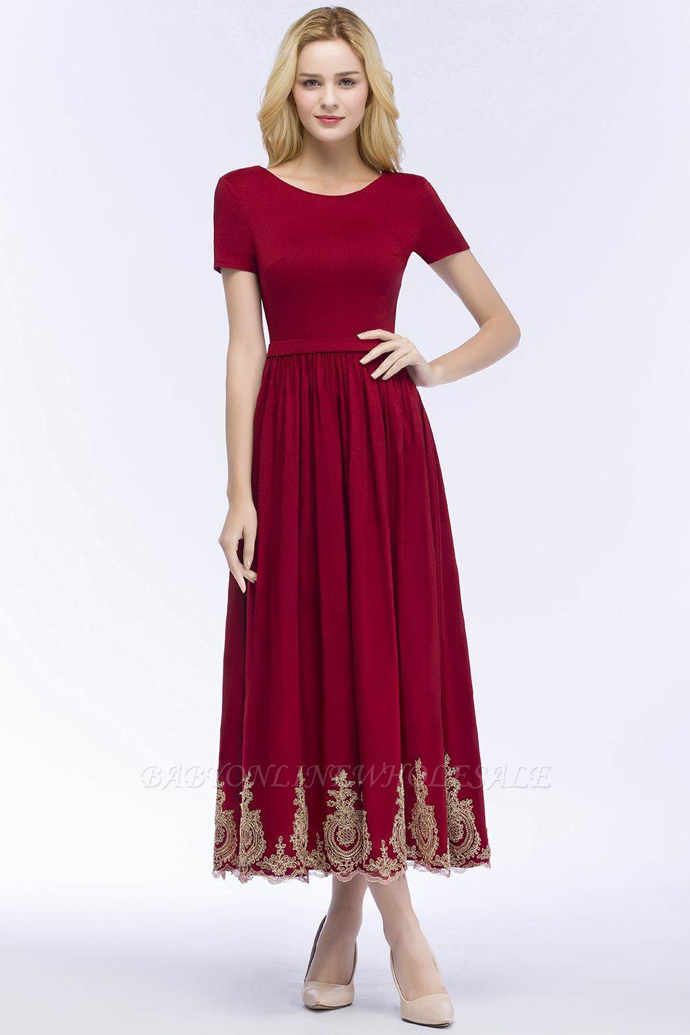 ROSEANNA | A-line Short Sleeves Ankle Length Appliques Prom Dresses with Sash