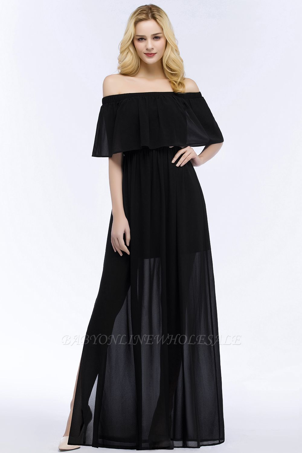 PANDORA | A-line Off-the-shoulder Floor Length Black Chiffon Bridesmaid Dresses