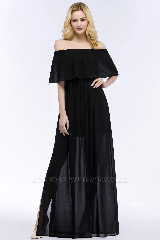 PANDORA | Una línea de hombro hasta el suelo palabra de longitud negro gasa vestidos de dama de honor