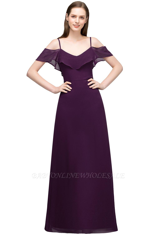 JULIANA | Vestidos de baile largos de gasa con escote en V sin mangas y escote en V de espagueti
