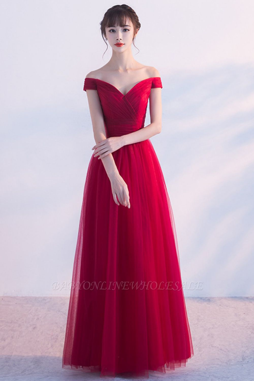 A-line Floor Length Off-the-shoulder Lace-up Ruffled Tulle Prom Dresses/Formal Evening Gowns  with Sash