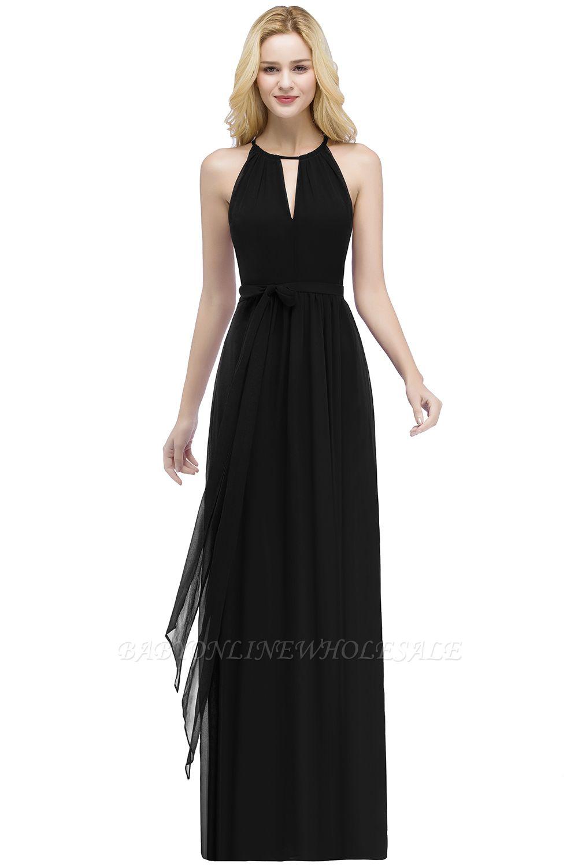 РОСАЛИНД | A-line Halter Floor Length Burgundy Bridesmaid Dresses with Bow Sash