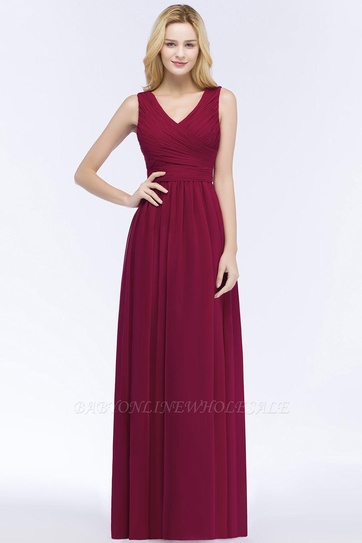 PATIENCE | A-line Floor Length V-neck Sleeveless Ruffled Chiffon Bridesmaid Dresses