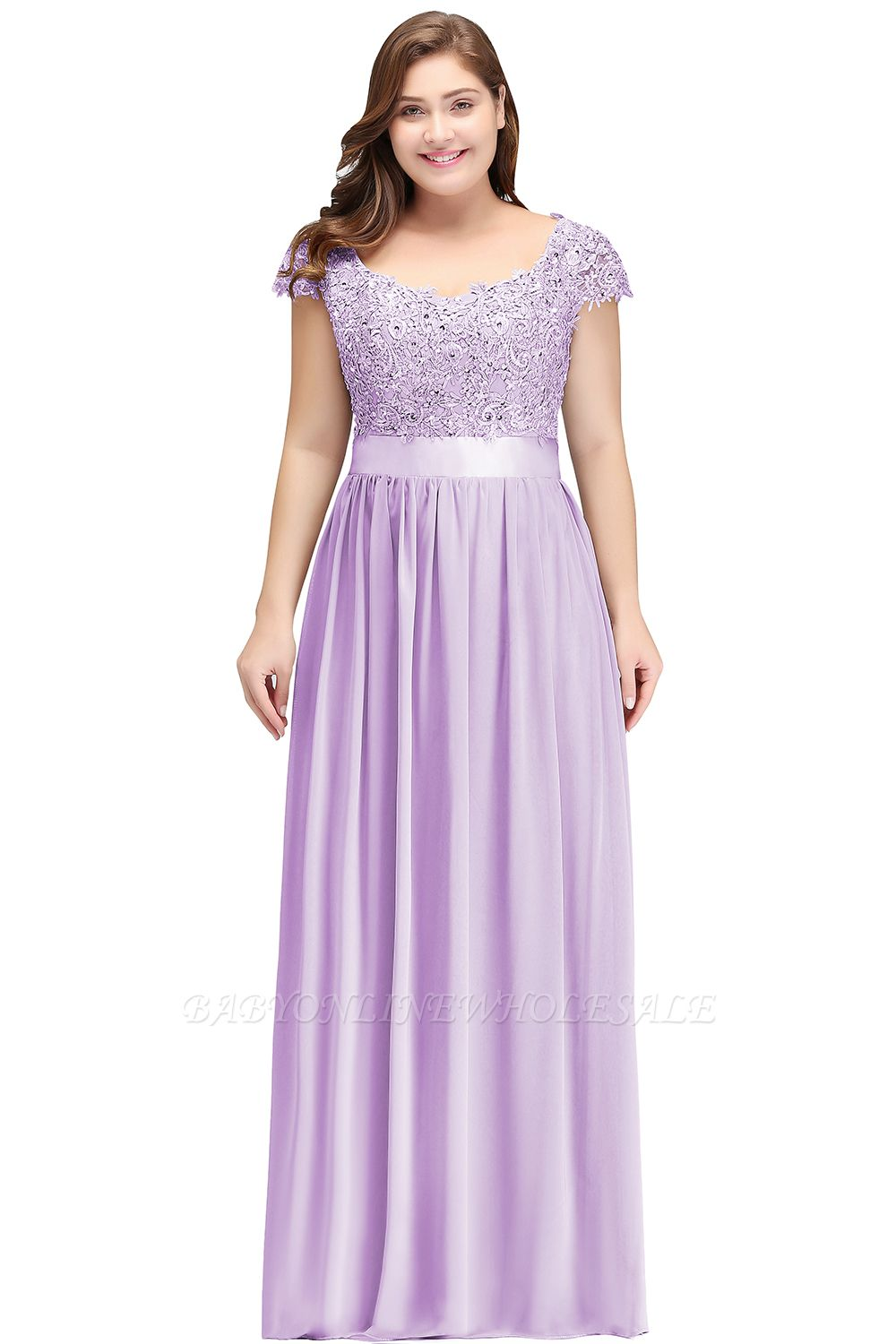 HOLLAND | A-Line Scoop Floor Length Cap Sleeves Appliques Silver plus size BridesmaidDresses with Sash