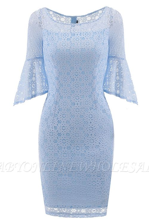 New Sky Blue Half Sleeve Lace Dress
