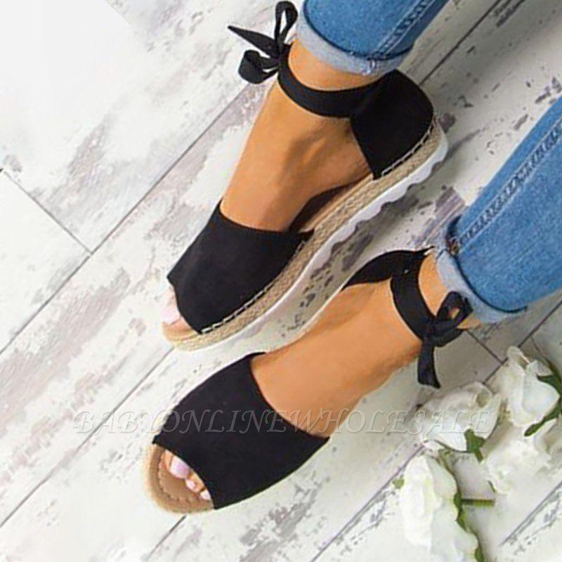 Sandales à plateforme à lacets et à lacets