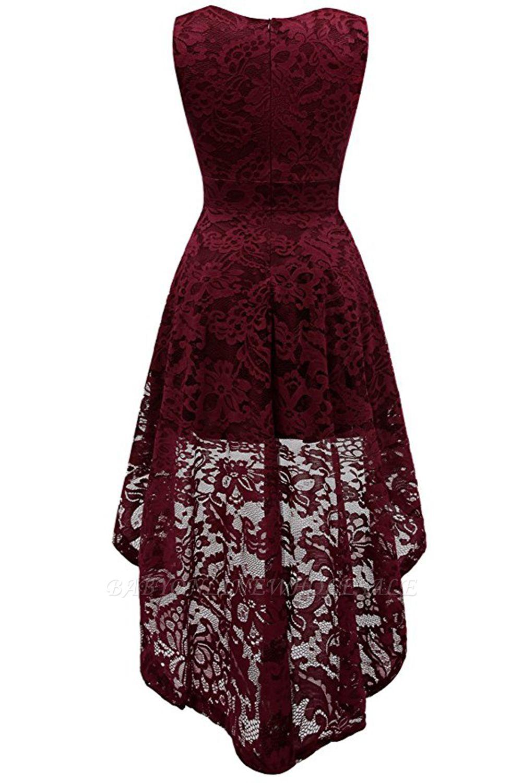schlichte spitze abendkleider v-ausschnitt | elegante abikleider vorne kurz  hinten lang