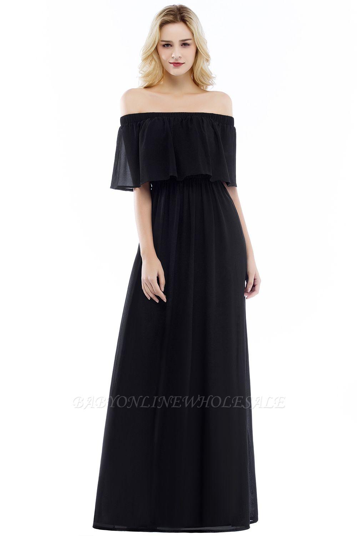 Hera Vestido de noche largo negro con hombros descubiertos - Rebajas