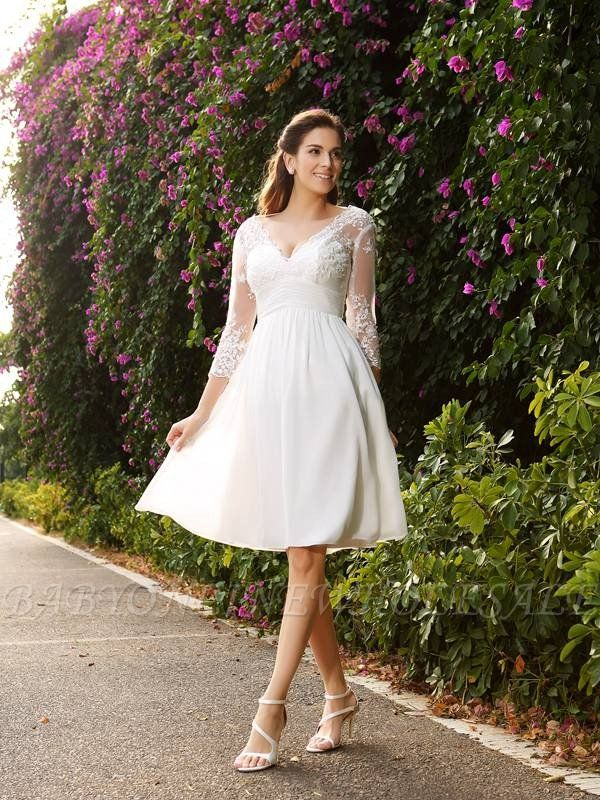 Short A-Line V-neck Chiffon Wedding Dresses with Sleeves