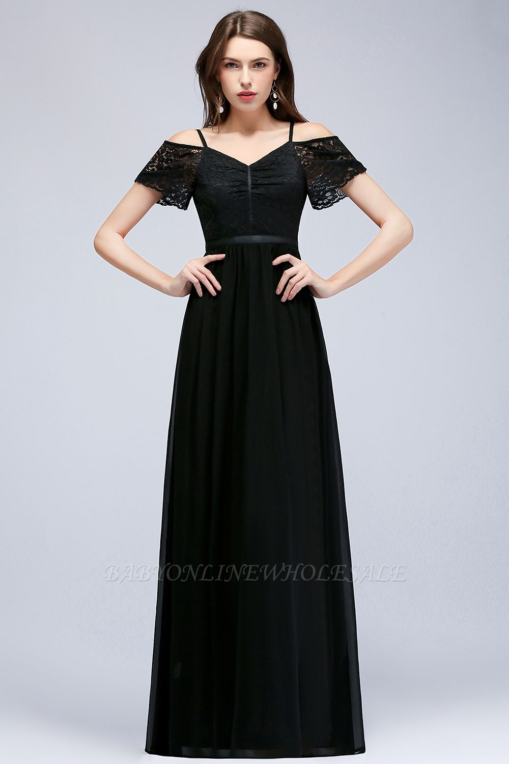 MAGNOLIA | A-line Long Spaghetti V-neck Black Lace Chiffon Bridesmaid Dresses