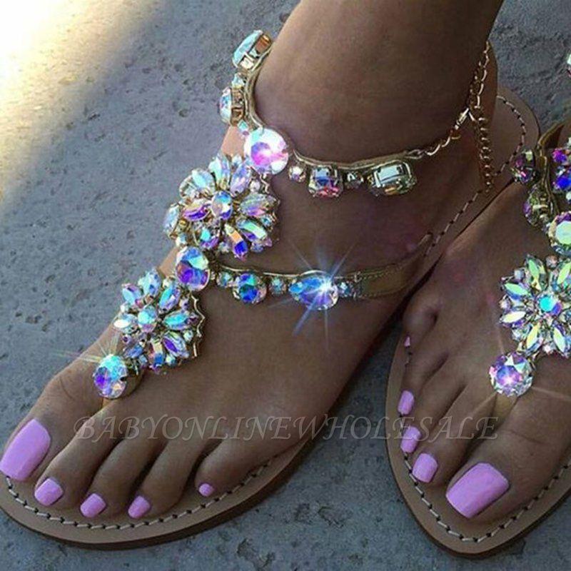 Plage chaîne strass quotidien sandales sandales