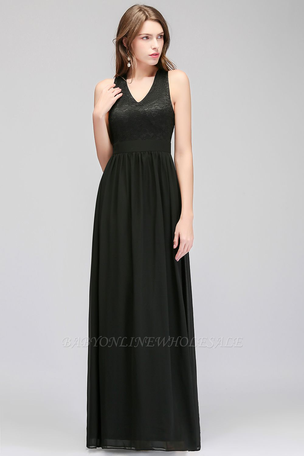MAGGIE | A-line V-neck Floor Length Sleeveless Lace Top Black Bridesmaid Dresses