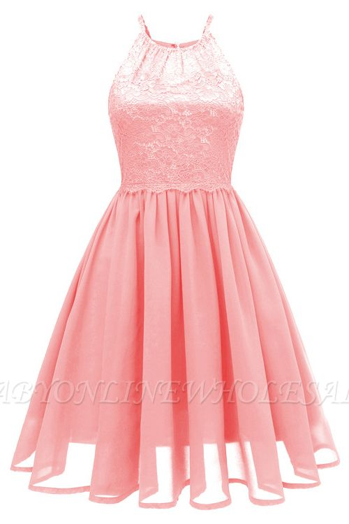 Pink Patchwork Condole Belt Lace Cut Out Round Neck Sweet Lace Dress