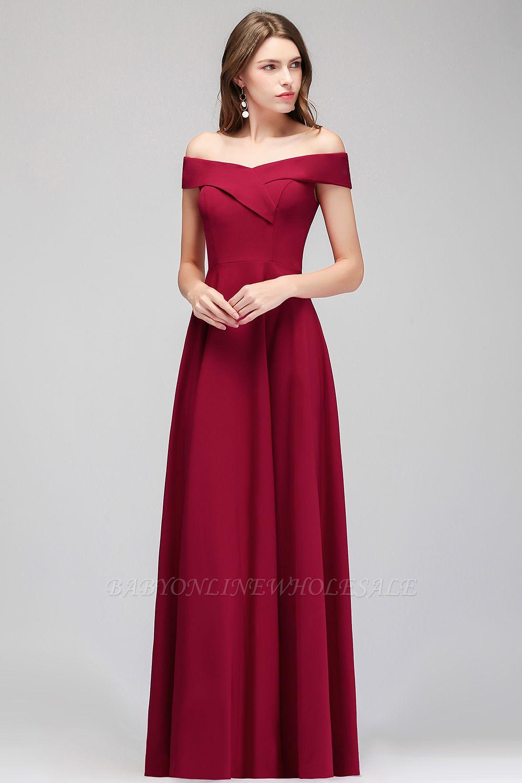 MAISIE | A-line Off-the-shoulder Floor Length Burgundy Bridesmaid Dresses