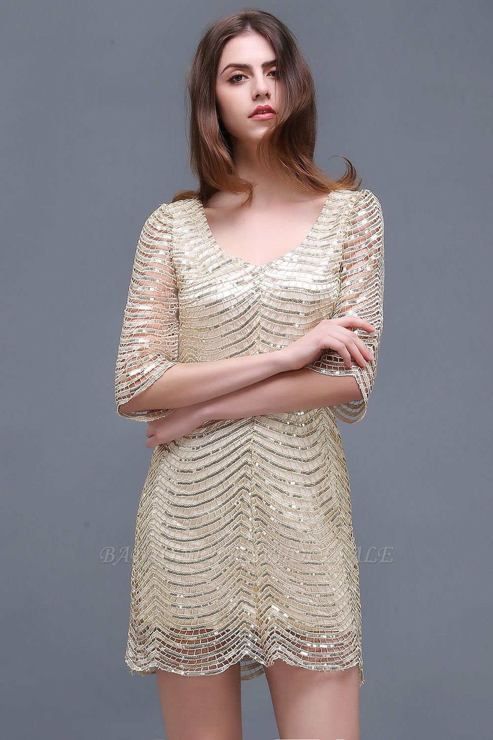 AIYANA | Sheath Scoop Short Sequins Cocktail Dresses With Long Sleeves