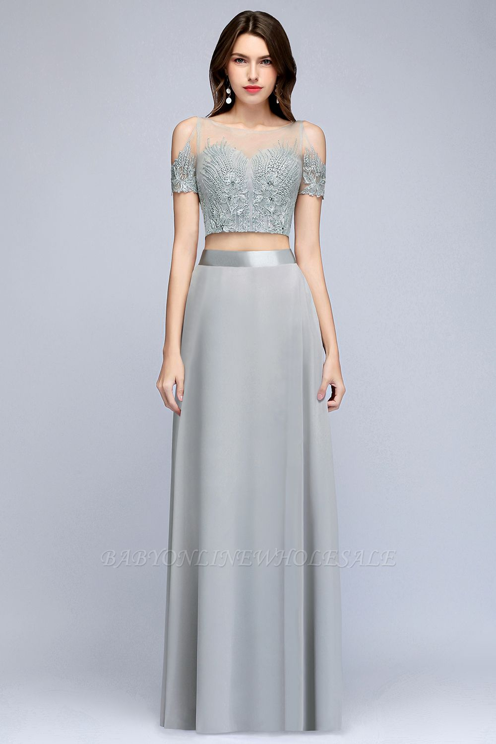 MADGE   A-line Two-piece Floor Length Appliqued Chiffon Prom Dresses