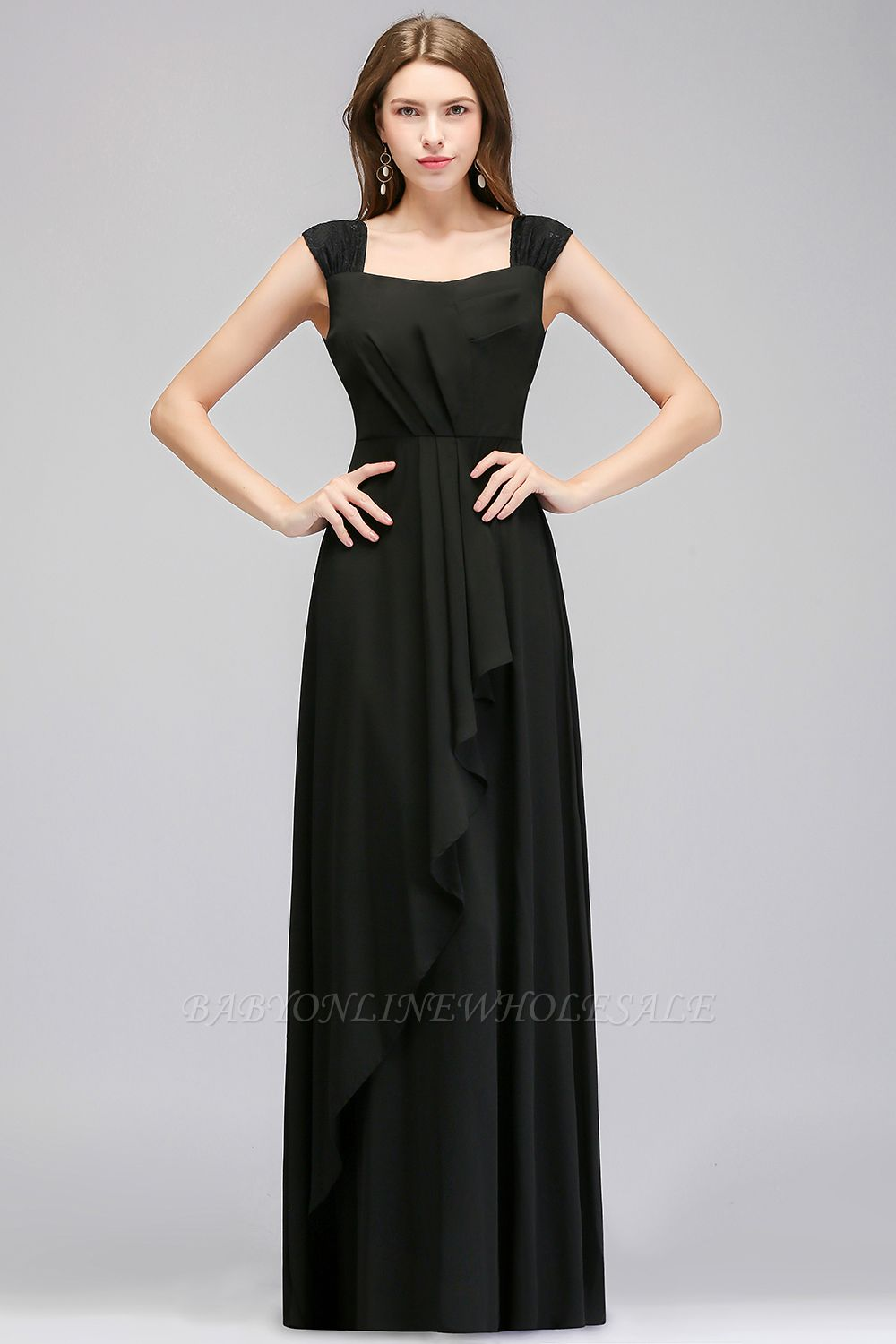 MAGDALEN | A-line Floor Length Sleeveless Ruffled Chiffon Bridesmaid Dresses