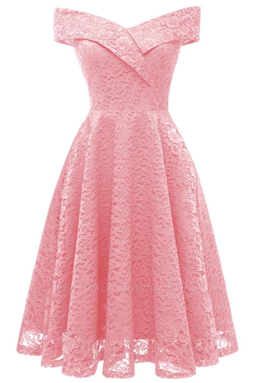 Schlichte Hellrosa Abendkleider A-Linie | Kurz Party Kleider Schulterfrei
