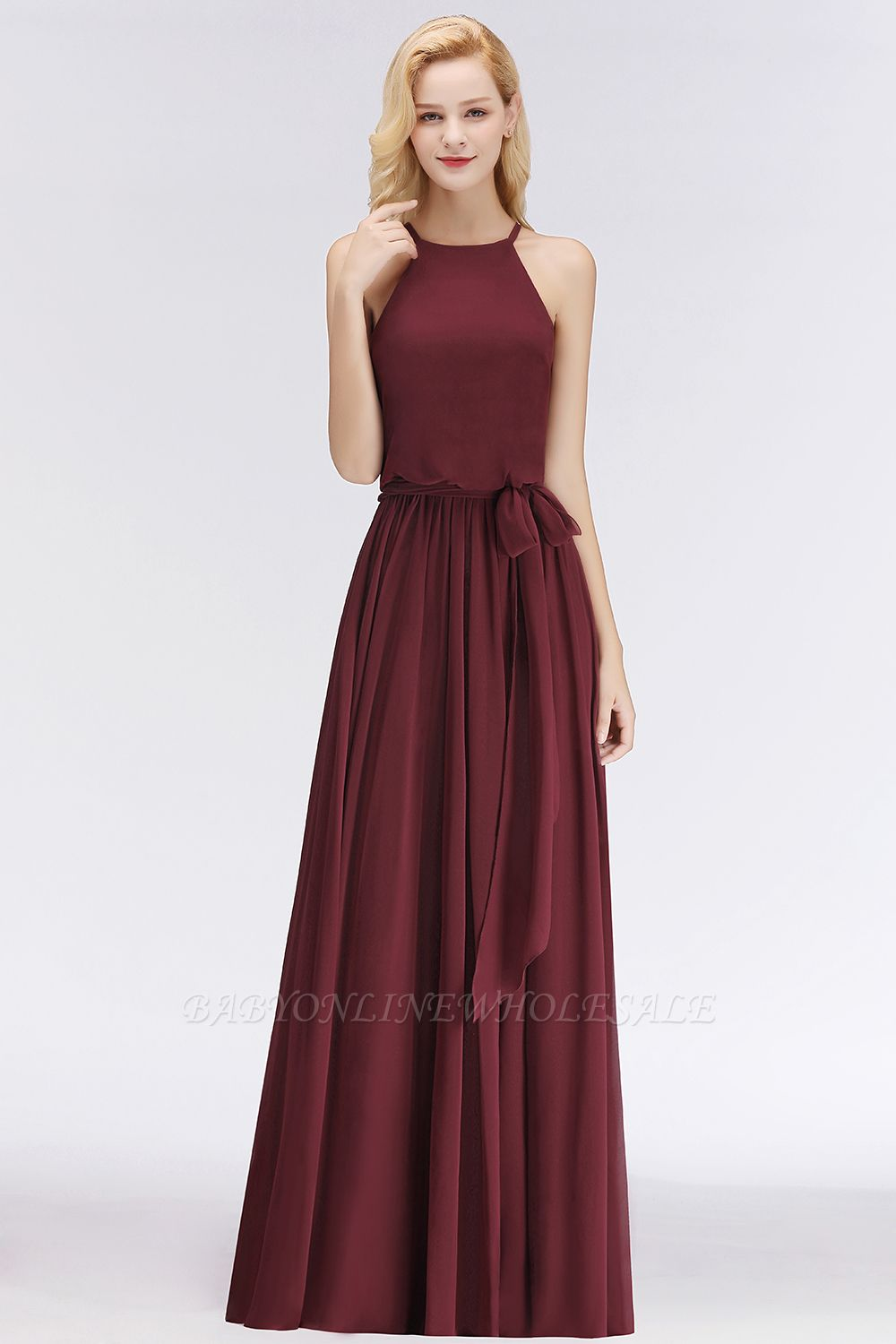 NICOLE | A-line Halter Sleeveless Long Burgundy Ruffles Chiffon Bridesmaid Dresses