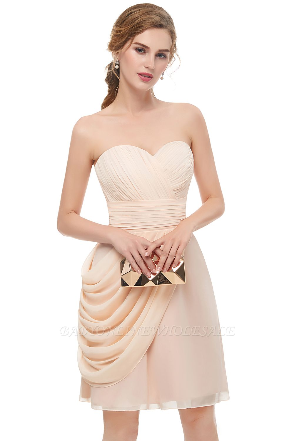 NELLIE | A-line Sweetheart Strapless Ruffles Chiffon Homecoming Dresses