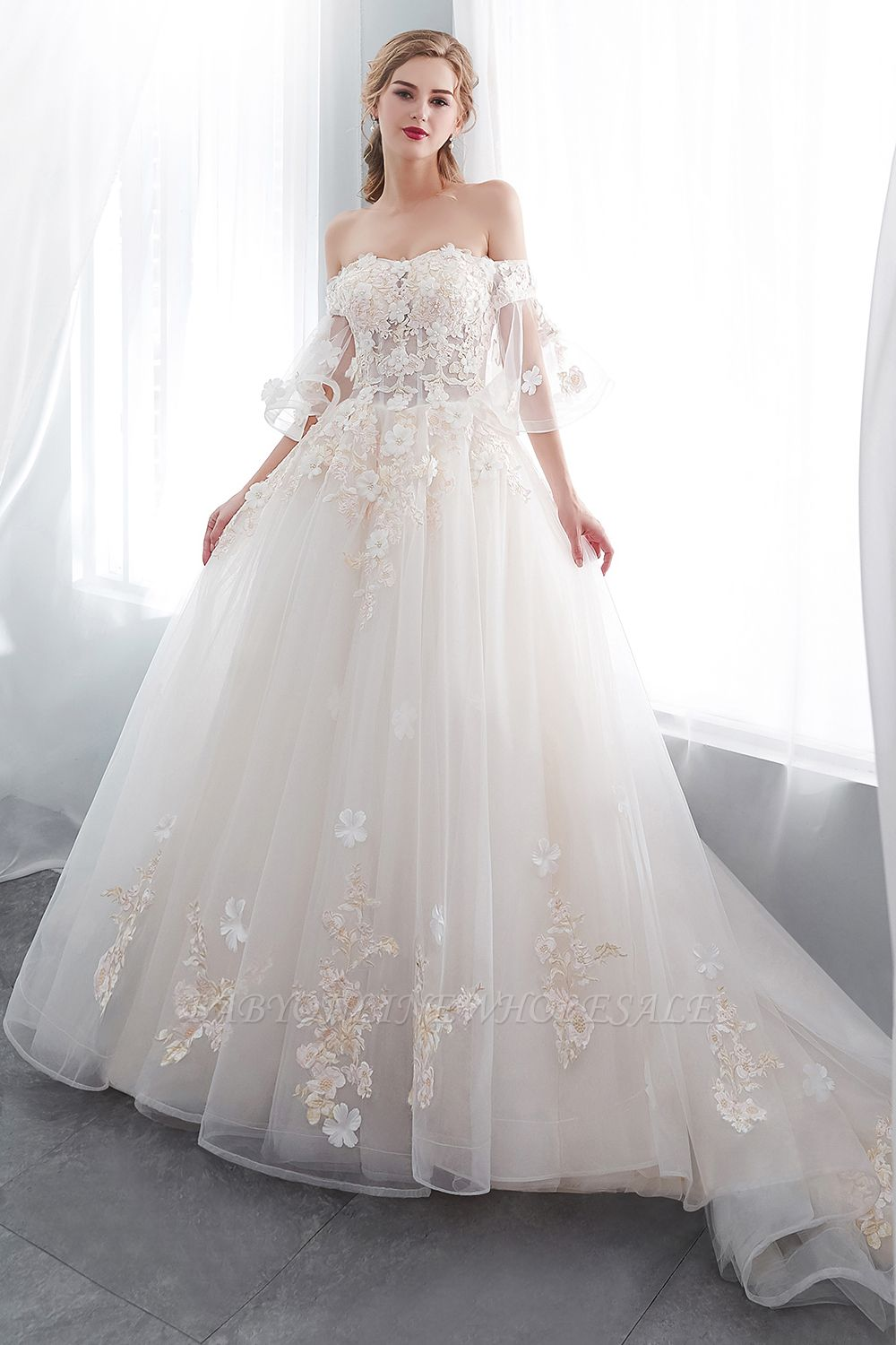 NANCE | Ball Gown Off-the-shoulder Floor Length Appliques Tulle Wedding Dresses