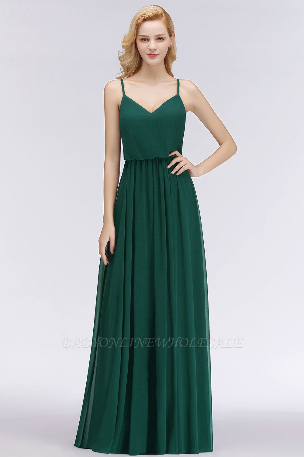 NICOLA | A-line Floor Length V-neck Spaghetti Chiffon Bridesmaid Dresses