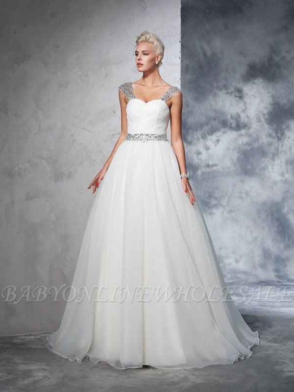 Long Tulle Ball Gown Straps Ruched Sleeveless Wedding Dresses