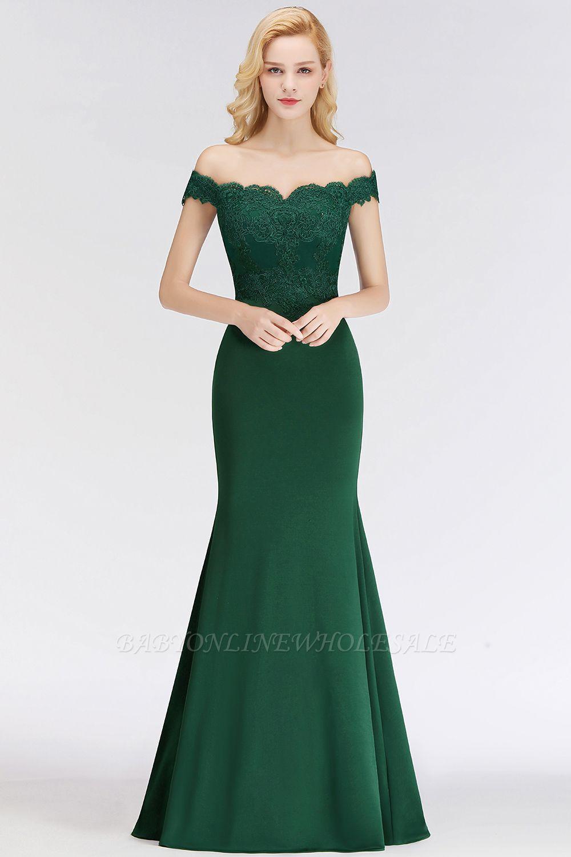 Elegante Brautjungfernkleider Dunkelgrün Online Kaufen | Günstige Brautjungferkleider Mit Applikationnen