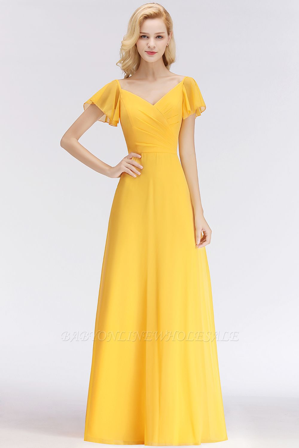NINA | A-line Long V-neck Short Sleeves Chiffon Bridesmaid Dresses
