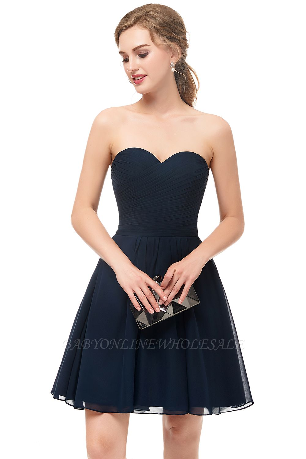 NELLY | A-line Strapless Short Black Chiffon Homecoming Dresses