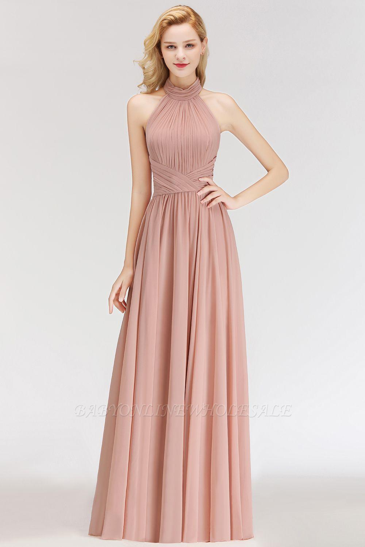 Elegante Hellrosa A-Linie Brautjungfer kleider   Schlichtes Brautjungferkleid Online Kaufen