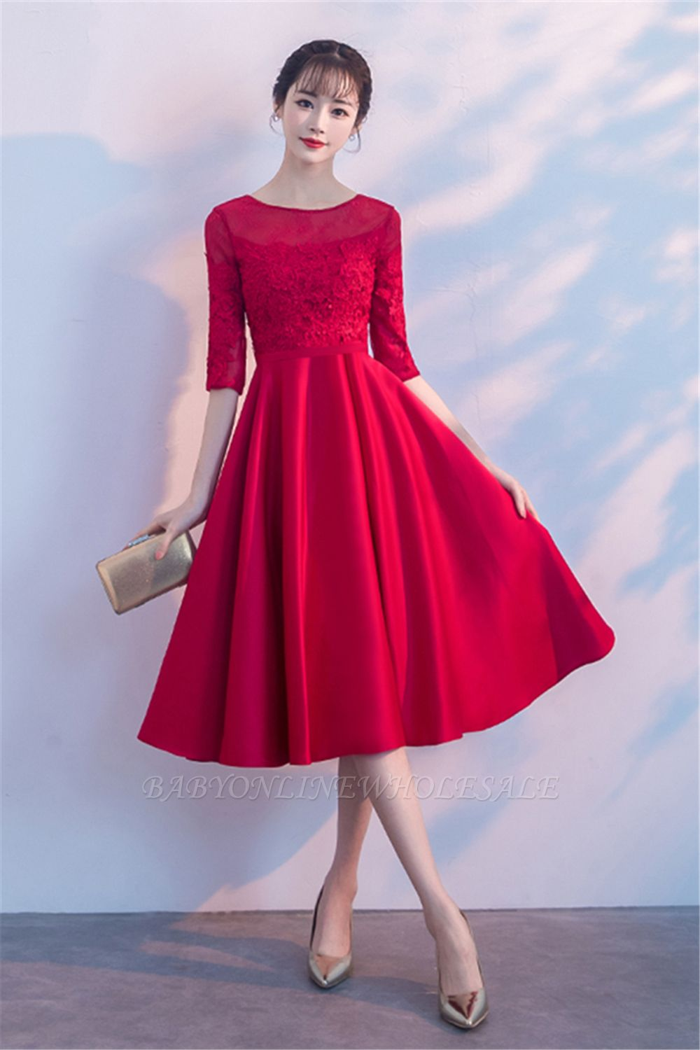 Lace A-Line Zipper Red Half-Sleeves Homecoming Dress