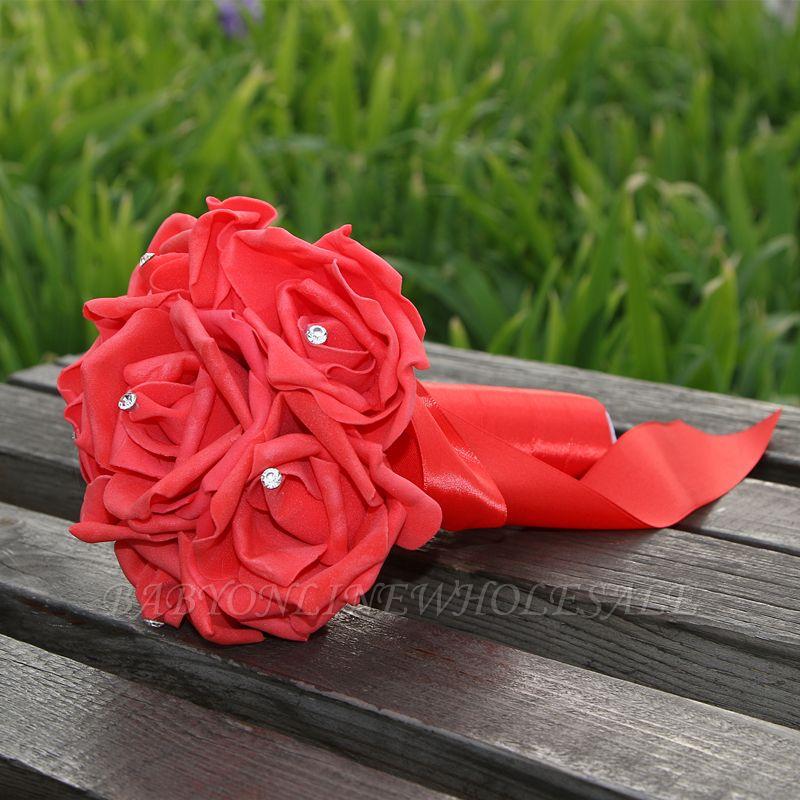 Einfacher Silk Rose-Hochzeits-Blumenstrauß in den mehrfachen Farben