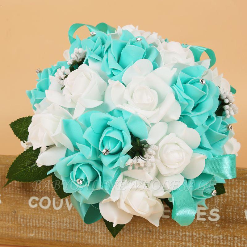 Bunter Seidenrosen-Hochzeits-Blumenstrauß mit Bändern