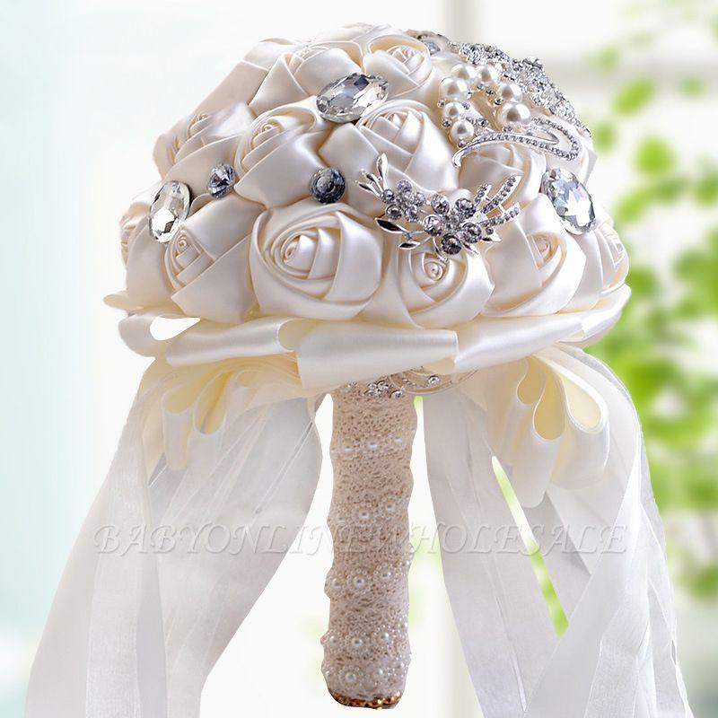Bunte Seide Rose Crystal Friesen Hochzeitsstrauß