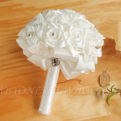 Bunter Seidenrosen-Hochzeits-Blumenstrauß mit Kristallen