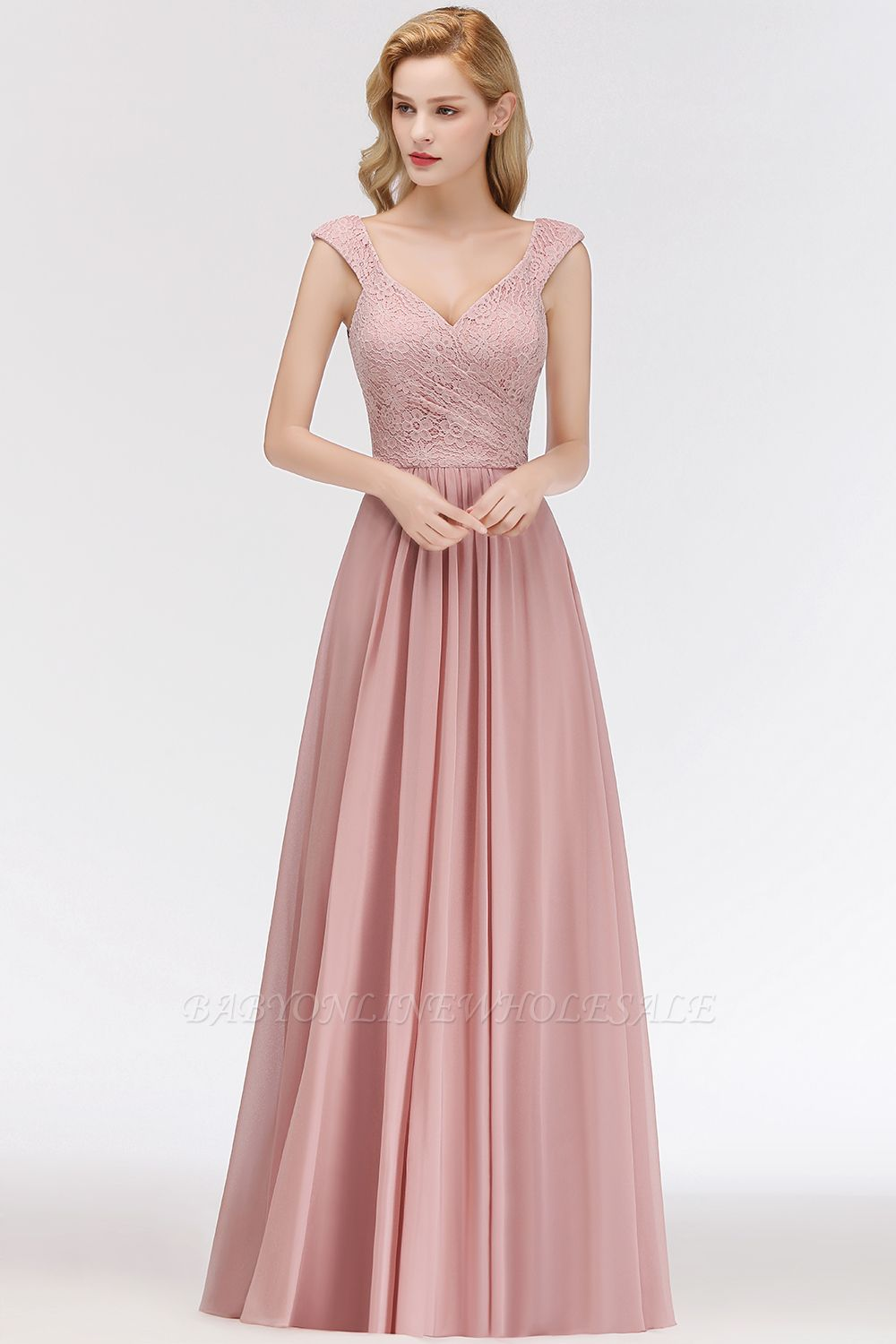 MARIA | A-line Long V-neck Sleeveless Lace Top Chiffon Bridesmaid Dresses