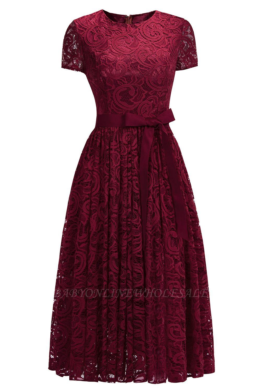 Manga corta Vestidos de encaje rojo con lazo de cinta