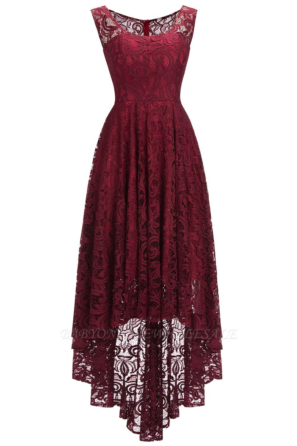 Schlichte Spitze Abendkleider Günstig  Schöne Kleider Vorne Kurz Hinten  Lang