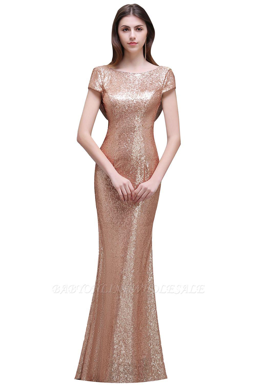 Frauen Sparkly Rose Gold Lange Pailletten Brautjungfer Kleider Prom / Abendkleider