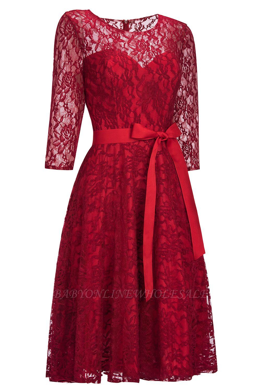 Vintage A-line Бургундии Кружевные платья с рукавами