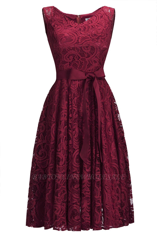 Vestidos sencillos de encaje rojo sin mangas con lazo de cinta
