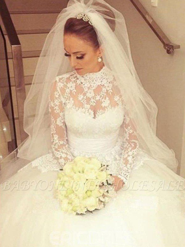 Cathedral Train Ribbon Ball Gown High Neck Lace Long Sleeves Wedding Dresses