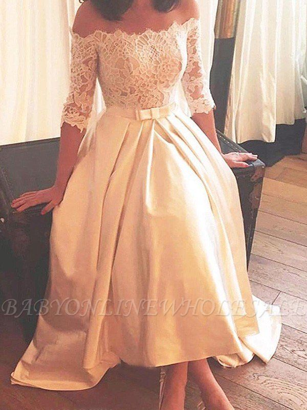 1/2 Sleeves Lace A-Line Asymmetrical Sweep Train Satin Off-the-Shoulder Wedding Dresses