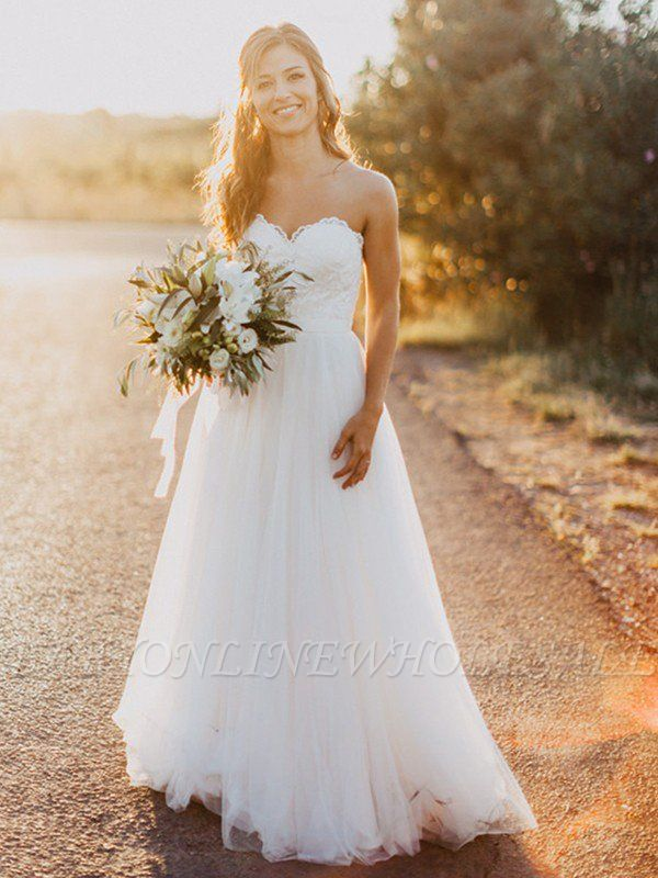 Floor-Length Tulle A-Line Ruched Sweetheart Sleeveless Wedding Dresses