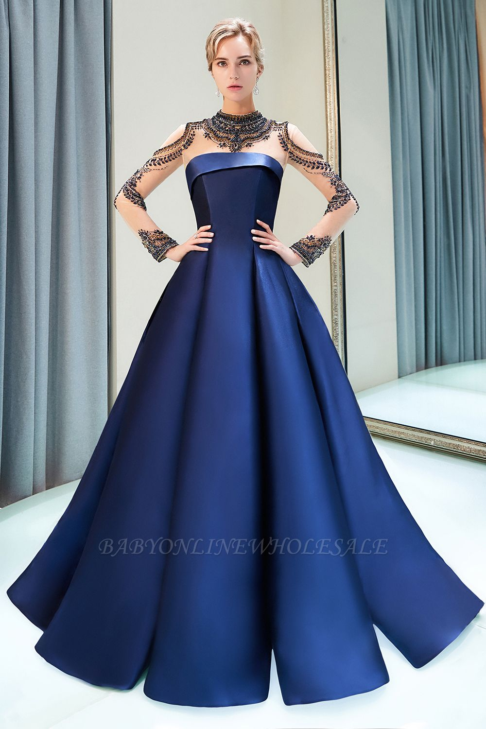 MARIN | A-line Long Sleeves Beading Neckline Satin Evening Gowns