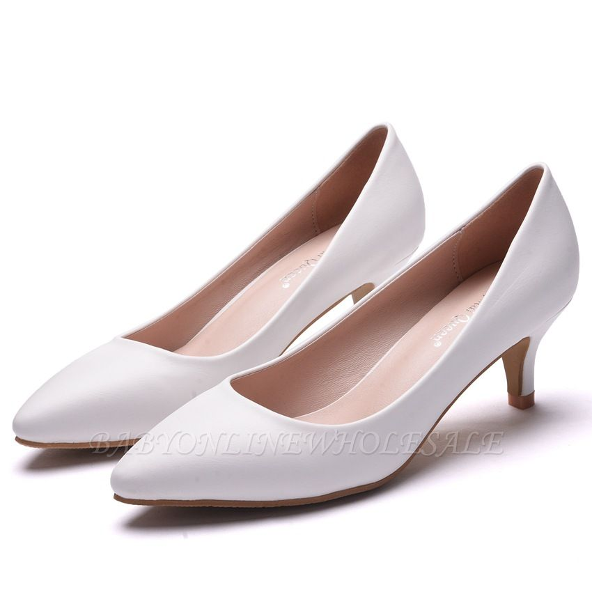 Fashion Pionted Toe Pu Kitten Heel Wedding Shoes Babyonlinewholesale