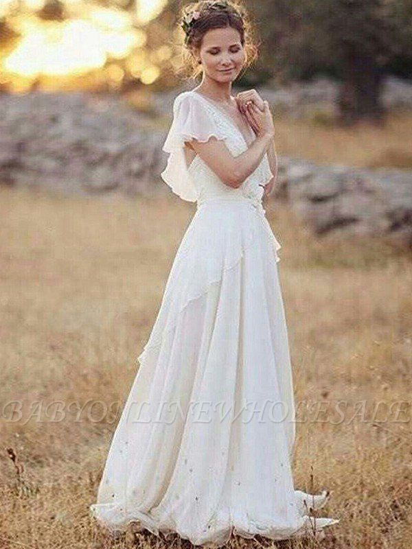 Ruched Floor-Length A-Line V-neck Chiffon Short Sleeves Wedding Dresses