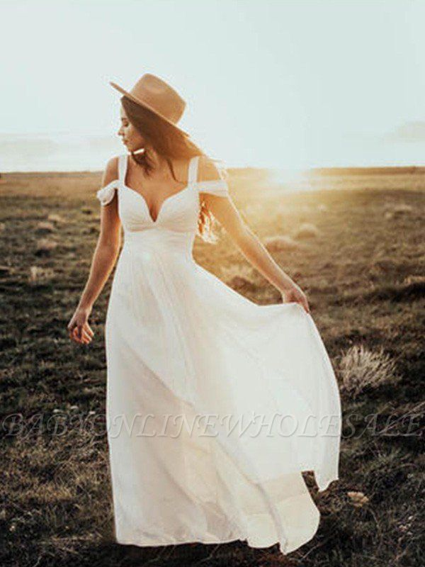 Short Sleeves Ruffles V-neck Straps Floor-Length Chiffon A-Line Wedding Dresses