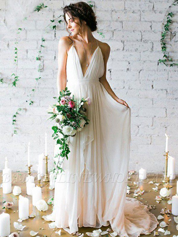 Sweep Train A-Line Sleeveless Ruffles Chiffon Spaghetti Straps Wedding Dresses